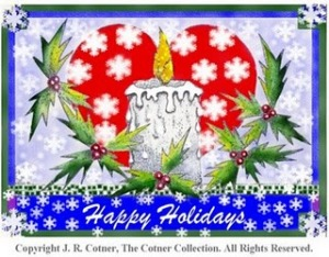 Happy Holidays colorized Pen and Ink copyright noticed