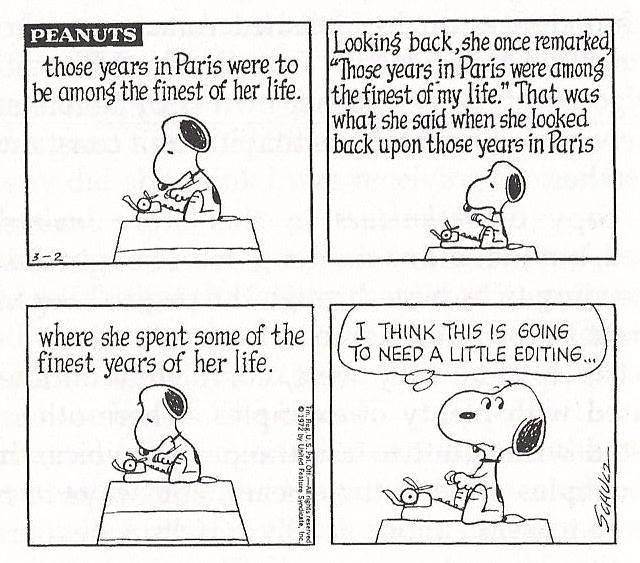 Snoopy writing editing